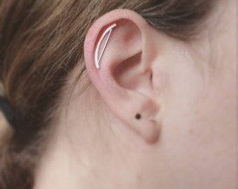 Arch cartilage earring - helix earring - sterling silver edgy stud - helix piercing - cartilage climber earring - helix crawler