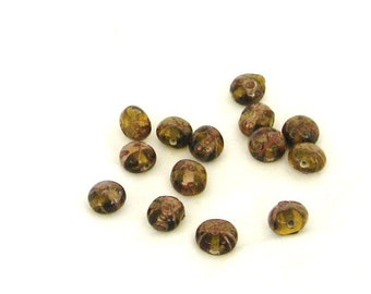Perlen, Glasperlen, gold, Braun, Braun, 14 Stück, C, destash Kaffee
