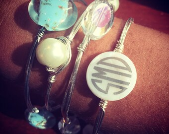 Wire Bangle stack of FOUR - one monogrammed!