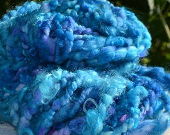 Skein of handspun wool turquoise colors