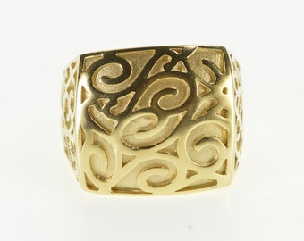 14K Rounded Swirl Spiral Design Squared Statement Ring Size 8.25 Yellow Gold
