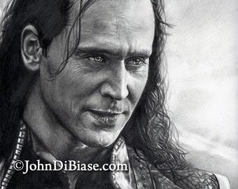 Drawing of Loki (Tom Hiddleston) from Thor: The Dark World