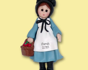 Amish Girl Polymer Clay HANDMADE Personalized Christmas Ornament - Limited Edition