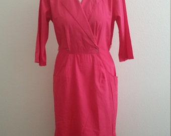 Vintage 70/80's Cotton Wiggle Dress, Pink, Pleated Accent, Size,  34/36 Bust, #60183