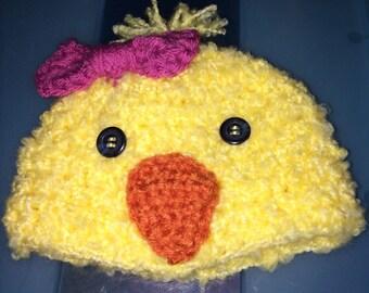 Newborn baby girl chick hat