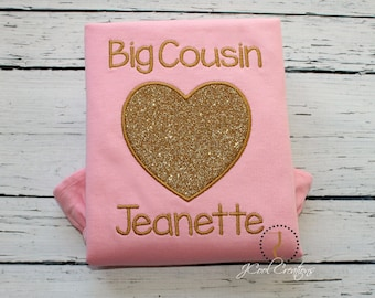 Big Cousin Shirt, Cousin Gift, Big Cousin tshirt, Announcement Shirt, Big Cousin, Big Cousin Little, Heart Shirt, Glitter Shirt, Pink & Gold