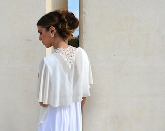 Bridal Chiffon cape, bride shawl with embroidery, lace shrug chic capelet ,wedding cover