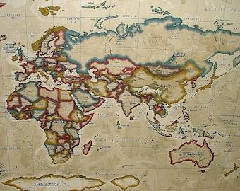 Atlas fabric etsy prestigious atlas world map antique designer cotton curtain upholstery fabric gumiabroncs Images