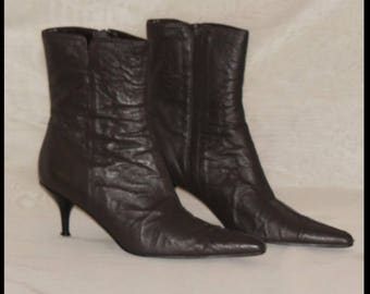 Vintage Brown Leather Boots, Genuine Leather, Size 8