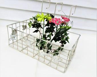 Vintage Window Box   Hanging Basket   Metal Basket   Wrought Iron Planter   Deck Planter   Large Iron Plant Hanger