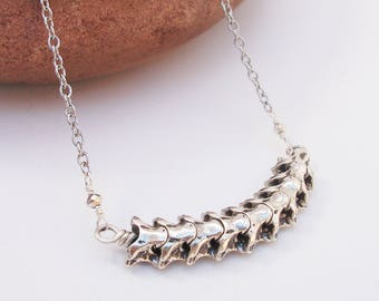 Silver-Snake-Vertebrea-Spine-Necklace /Free US Shipping