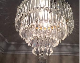 Vintage Waterfall Wedding Cake Chandelier - 1930s Crystal Prisms - Light Flush Mount