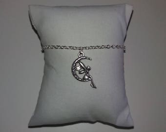 Silver chain and fairy on Crescent Moon bracelet