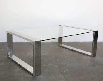 SOLD   Chrome Box Glass Coffee Table Mid Century Vintage Modern 1970s 1980s  Minimal Modern
