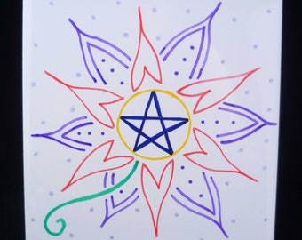 Pentagram flower decorative tile. Hand painted.