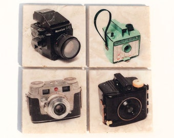 Vintage Camera Coaster Set Edition 1 (Set of 4 Stone Coasters) Old Fashion Cameras Photographer Gift