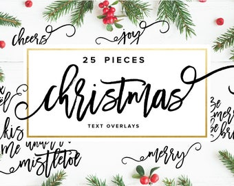 Christmas Text Overlays, Photography Overlays, Modern Calligraphy Overlays, Holiday Clipart, Photoshop Overlays, PNG Overlay,