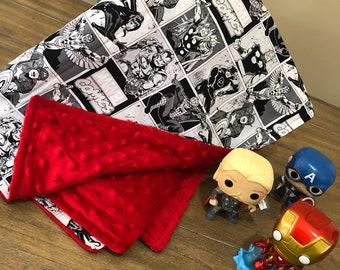 Marvel Black and White Baby Minky Blanket