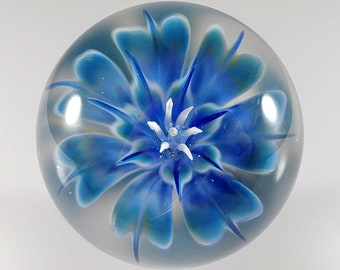 Blue Fade Glass Flower Marble