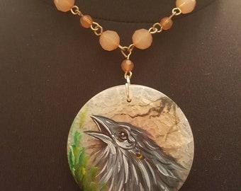 Handpainted crow raven stone pendant necklace