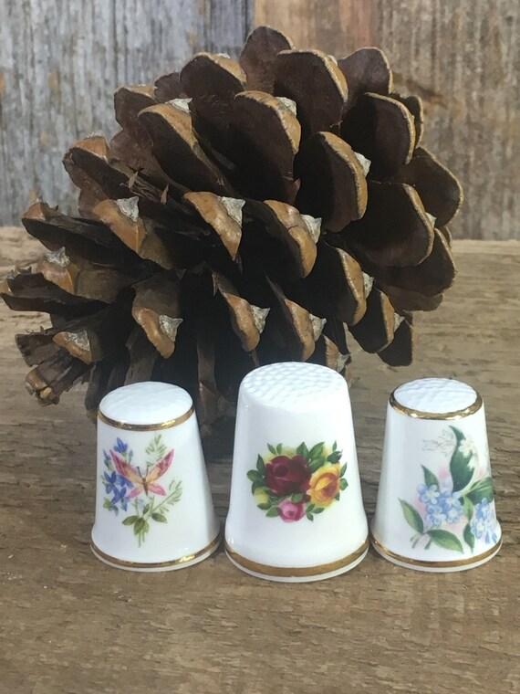 Vintage Royal thimbles, set of three thimbles, Royal Grafton, Royal Court and Royal Albert, set of three vintage thimbles,
