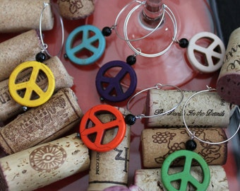 Wine Charms - Peace Sign