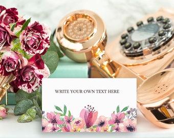 Floral Bridal Shower Place Cards, Bridal Shower Tea, Baby Shower Place Cards, Instant Download, Pink Floral, Watercolor, Printable No. 1018