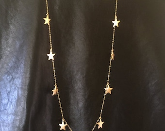 11 Lucky Star Necklace, Long Gold Necklace, Gold star necklace, long and layered necklace, Muse411