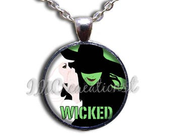 Wicked Wizard of Oz Glass Dome Pendant or with Chain Link Necklace WZ112