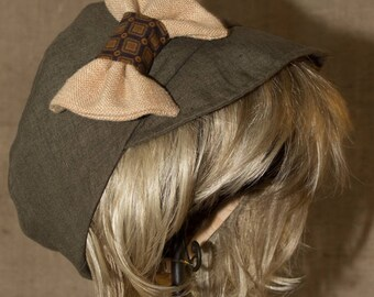 Linen and cotton hat size is 63 cm handmade France