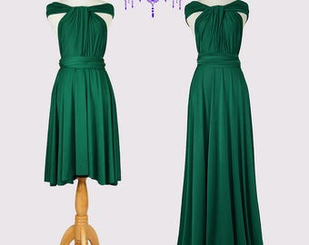 Emerald Green Infinity Dress Convertible Formal,wrap dress ,bridesmaid dress,party dress Evening dress C49#B49#