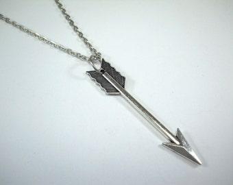 Large Arrow Pendant, Antique Silver Tone, Men's Necklace, Women's Necklace, Antique Silver Tone Chain Necklace