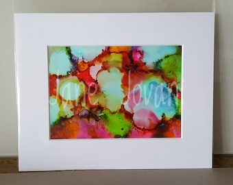 """Abstract Brights 5"""" x 7"""" alcohol ink painting"""