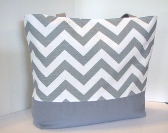 Chevron Tote Bag . Standard size . Chevron beach bag . Gray White . teacher tote . Monogramming Available