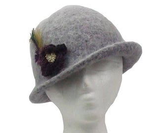 Alpaca Wool Felted Gray Cloche Inspired Hat