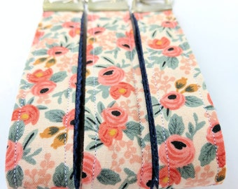 Key Fob. Key Chain. Key Ring. Wristlet. Women's Key Fob. Ladies Key Fob. Gifts under 10. Ladies Key Chain. Floral Key Fob. Rifle Paper Rosa