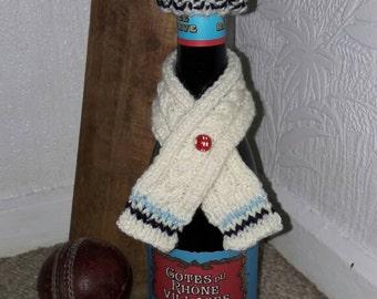 Cricket themed wine bottle hat & scarf