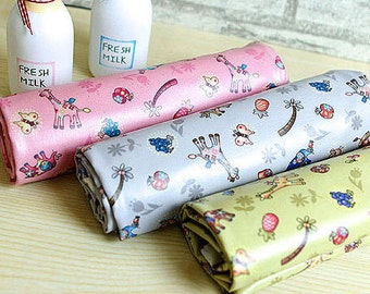 Waterproof Laminated Cotton Fabric Cute Animals in 3 Colors by the Yard 43033