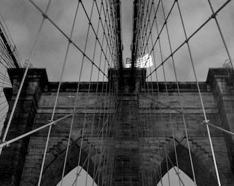 Brooklyn Bridge Wrapped Canvas Photograph | New York | Home Decor | Brooklyn Bridge Canvas | Black and White Brooklyn Bridge Photography