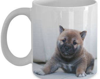 shiba inu mug, puppy mug, shiba inu gift, puppy coffee mug, super cute puppy mug, adorable puppy mug, puppy coffee mug, brown cute puppy mug