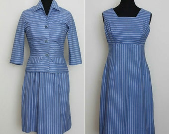 1950s Blue Striped Dress And Jacket Suit