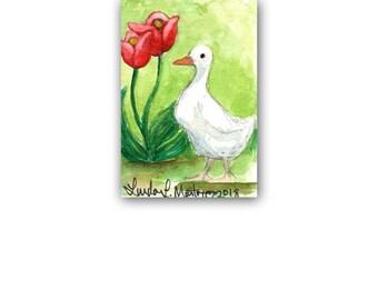 Duck Rabbit Tulip Spring Mom Nursery New Baby Art  LLMartin Original Ducky ACEO  Watercolor Free Shipping USA