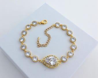 Gold Crystal Bracelet Gold Bridal Cubic Zirconia Bracelet Gold Wedding Clear Crystal Bracelet Gold Crystal Bridesmaid Jewelry Gold Bracelet
