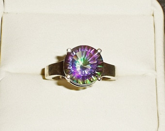 Rainbow Mystic size 7 ring in solid .925 Sterling Silver