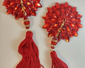 "True Red burlesque pasties, nipple tassels, nipple covers : The ""Good Girl Gone Bad"""