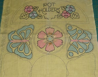 Vintage Embroidered Pot Holder Panel, Kit