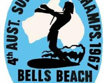 Vintage Style  Bells Beach 1967 Surfing Contest   Travel Decal bumper sticker surf surfboard
