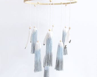 Woodland Baby Mobile - Tassel Mobile - Feather Mobile - Nursery Decor - Baby - Blue/Grey/Gray, Wood, Feather, Boho, Woodland Mobile