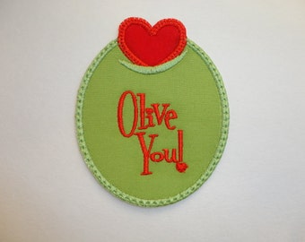 Olive Iron On Patch, Olive You Iron On Patch, Heart Iron On Patch, Love Iron On Patch