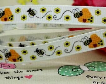 "Bubble Bee and flower Grosgrain Ribbon 3/8"", Bubble Bee ribbon, 3/8""  ,Bubble Bee and flower Ribbon"